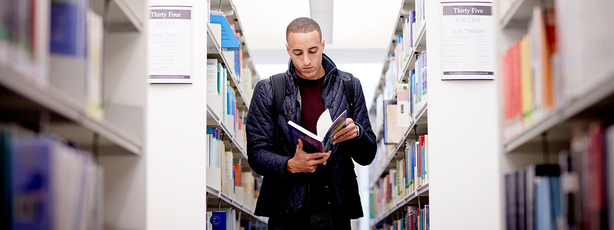Student in Mary Seacole Library