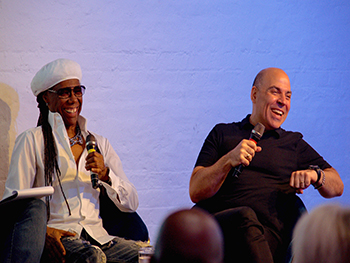 Nile Rodgers and Merck Mercuriadis at the Songwriting Studies Research Network credit Louis Coupe