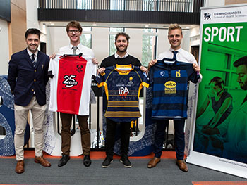 Three PhD students working with teams in football, cricket and rugby