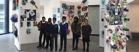 Primary school pupils visiting exhibition