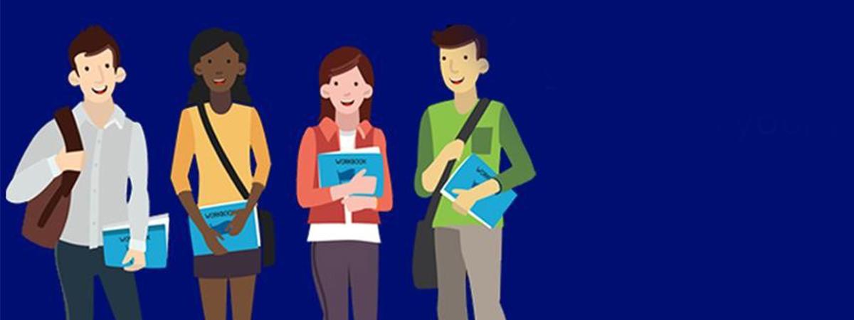 Cartoon image of university students
