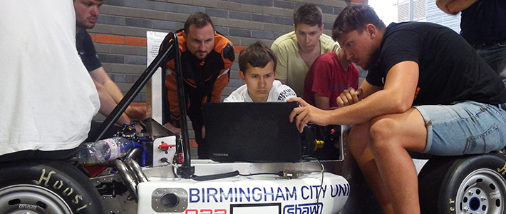 BCU Racing students concentrating