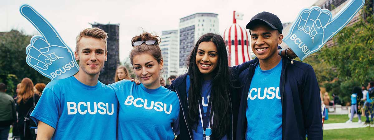 BCU Societies Articles 1200x450 - Students in BCUSU t-shirts