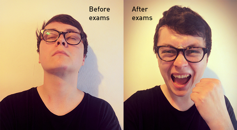before exams faces