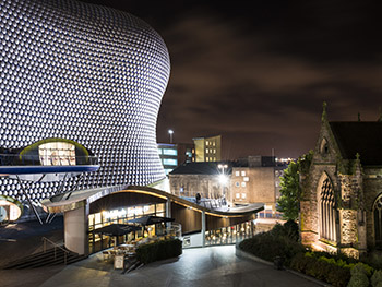 Birmingham Night Time - Selfridges and church