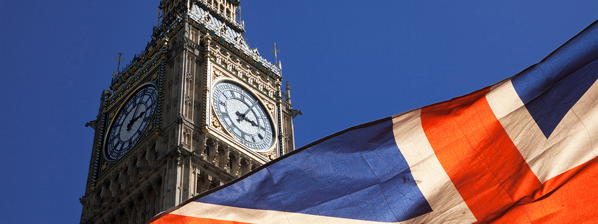 Image of the Great Britain flag by Big Ben