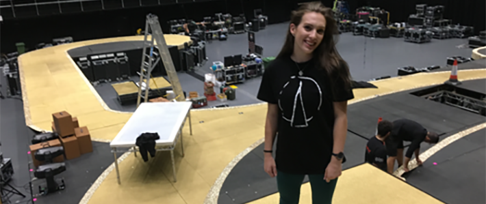 Catherine Briggs secured a placement as a Scenic Assistant with Brilliant Stages/Perry Scenic, a company that constructs stage sets for tours and live events for music artists.