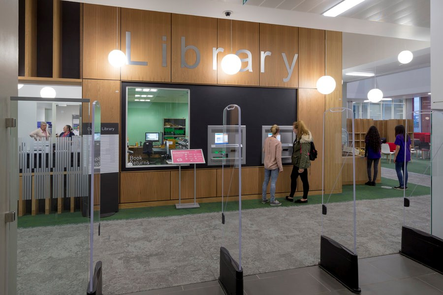 Entrance to Curzon Library, which is open 24 hours a day during term time.