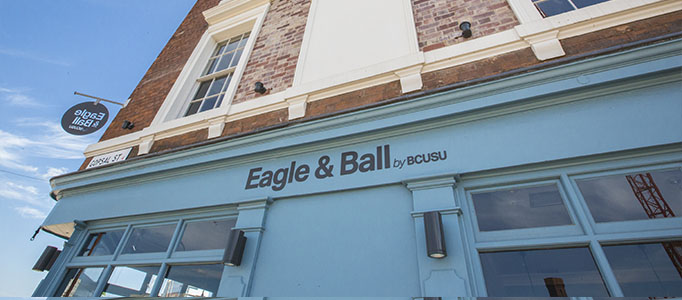 Eagle and Ball 682x300 - Front of the Eagle and Ball pub