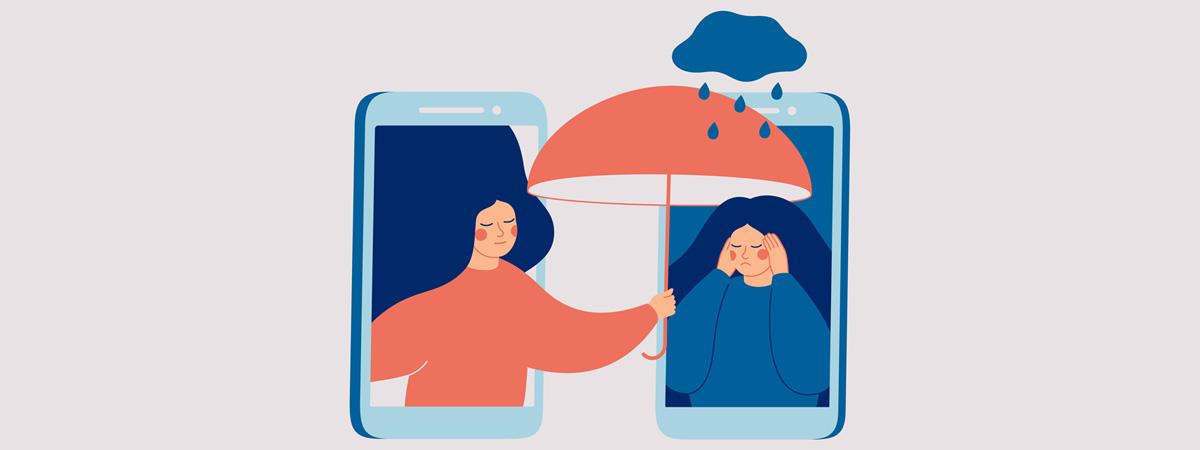 Ambassador Blog Building an Online Community Image 1200x450 - Cartoon of one woman holding an umbrella over another through smart phone screens