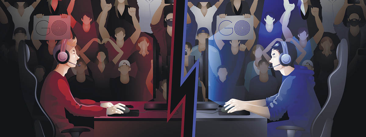 Esports Tournaments 1200x450 - Cartoon of two men playing on consoles in front of a crowd