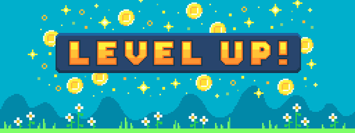 Video game level up screen