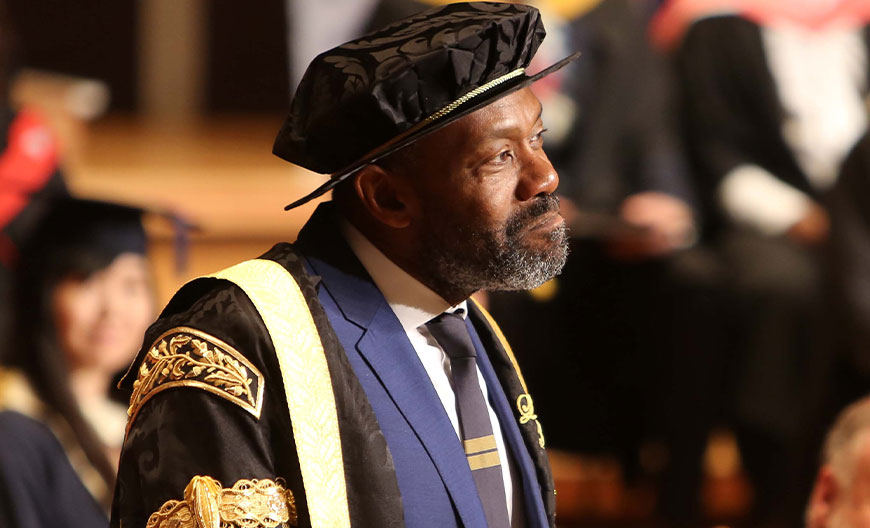 Chancellor Sir Lenny Henry in academic robes