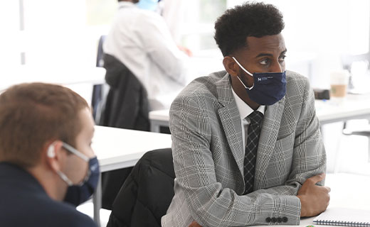 Students in class with face masks
