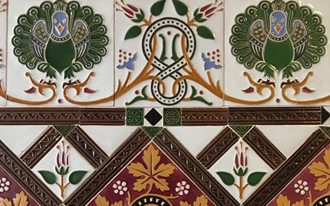 Intricate ceramic tiles from Jackfield Tile Museum