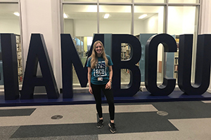 Katie Something Special 300x200 - Katie infront of the I AM BCU letters
