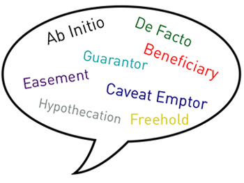Language of the Legal Process Page Image 350x263 - Jumbled legal jargon in a speech bubble
