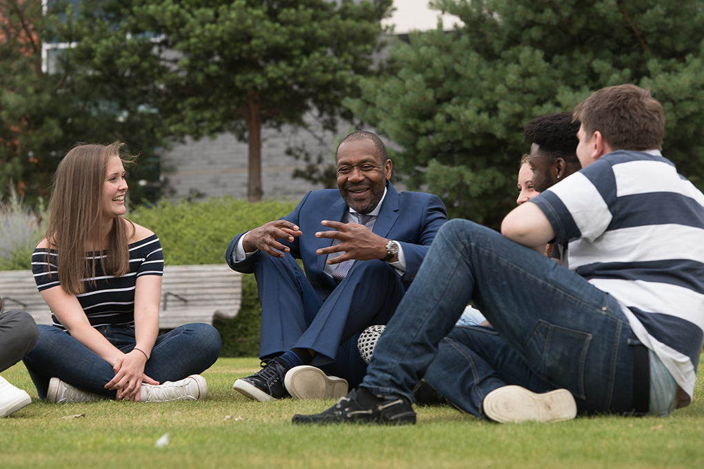 Lenny Henry students laughing