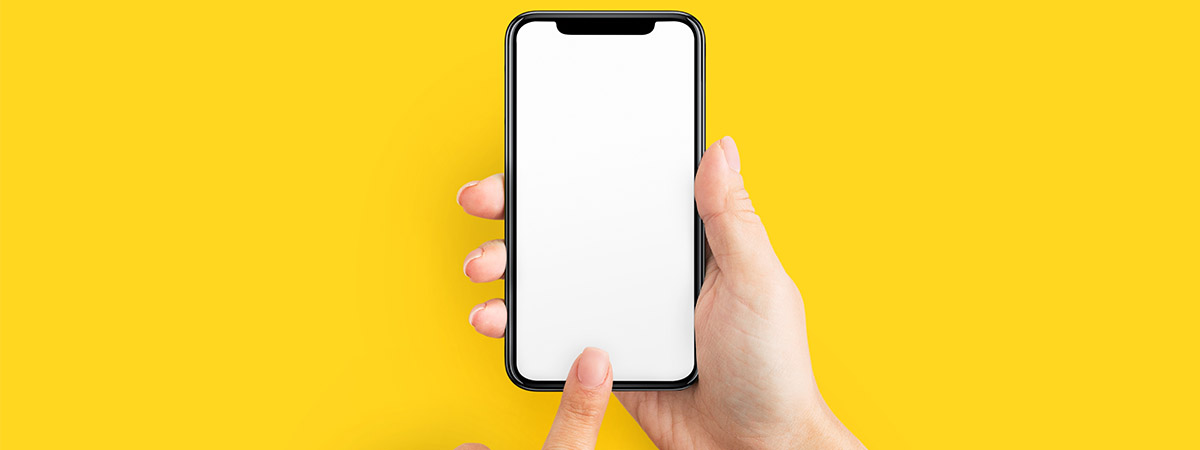 A person holding an iPhone