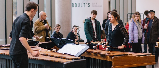 Percussion students at Open Day