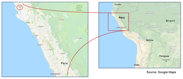 Map of Piura's location within Peru.