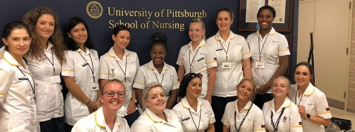 Student nurses in uniform at the University of Pittsburgh