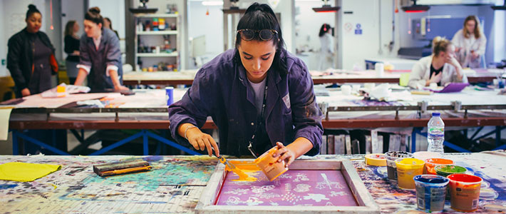 A student printmaking