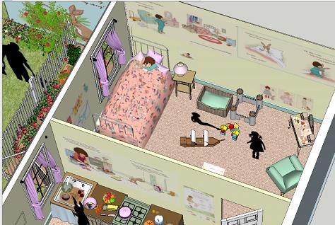 Final SketchUp Design Inside Belle's House