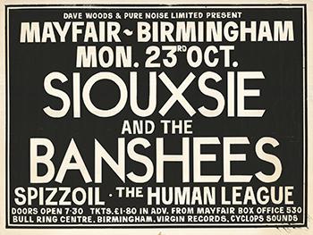 Poster advertising original Birmingham punk gigs