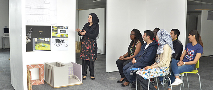 BCU Architecture students during a presentation.