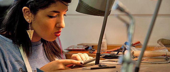 BCU Jewellery student filing.