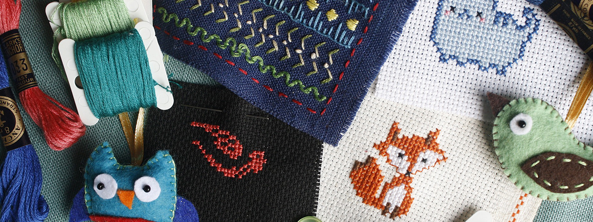 Collection of embroidery and craft projects