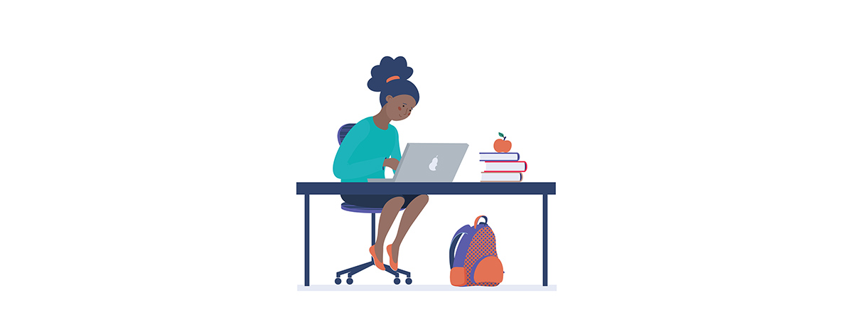 Which Black Studies course 1200x450 - Cartoon woman at a desk